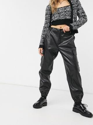 WOMEN Wednesday's Girl cargo pants in faux leather