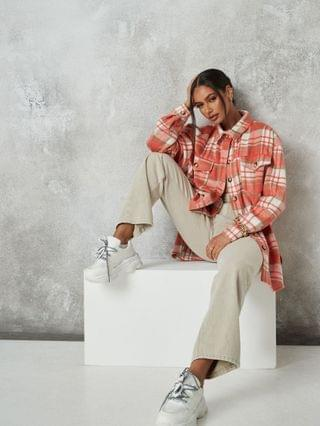 WOMEN Missguided oversized checked shacket