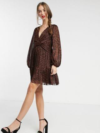 WOMEN Ever New metallic plisse mini dress in brown