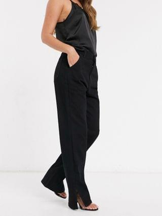 WOMEN In The Style x Shaughna high waist flared jeans with side splits in black