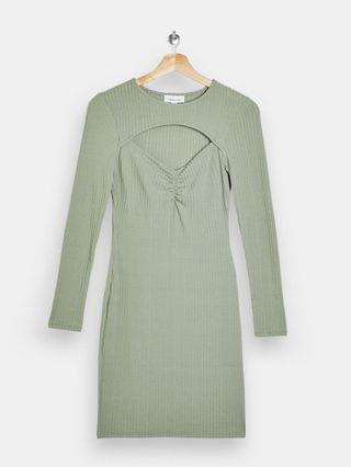 WOMEN Topshop ruched body-conscious dress with cut out detail in khaki