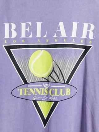 oversized t-shirt with tennis front print in garment wash purple