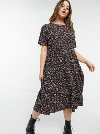 WOMEN Wednesday's Girl Curve midi smock dress in grunge floral