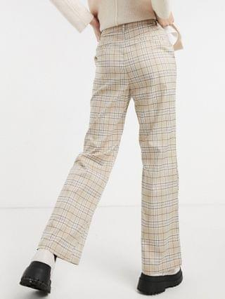 WOMEN Reclaimed Vintage Inspired slouch pants in neutral check