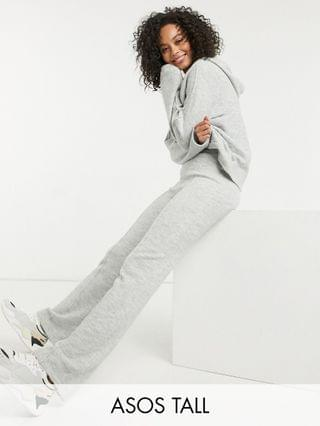 WOMEN Tall oversized knit hoody and wide leg pants set in gray