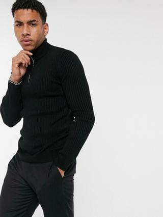 New Look muscle half zip knitted sweater in black