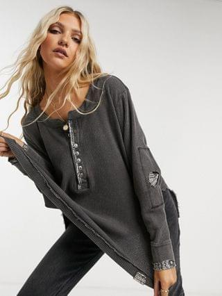 WOMEN Free People fall for you long sleeve henley top