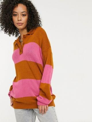 WOMEN Tall oversized rugby style sweater with collar in stripe