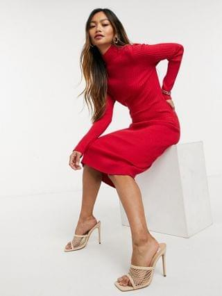 WOMEN Fashion Union long sleeve knitted midi dress with cut out back in red