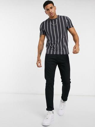 MEN New Look oversized striped t-shirt in dark gray