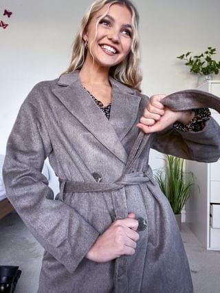 WOMEN New Look belted formal coat in mink