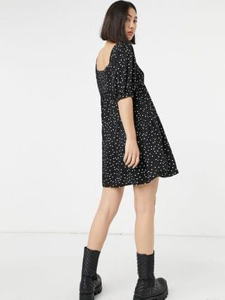 WOMEN Fashion Union square neck tiered smock dress in polkadot