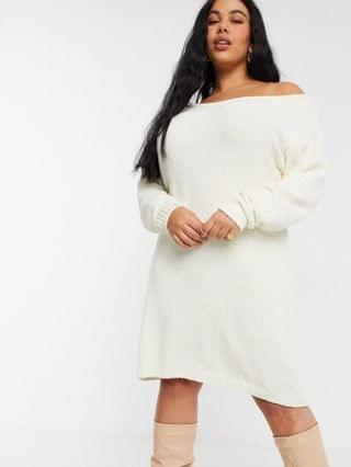 WOMEN In The Style Plus x Billie Faiers off shoulder sweater dress in white