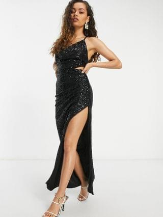 WOMEN Jaded Rose Petite cut out cowl neck sequin midaxi dress with split in black