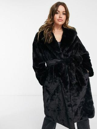 WOMEN New Look Curve longline belted faux fur coat in black
