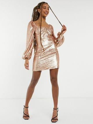 WOMEN Collective the Label long sleeve sequin mini shift dress in sequin