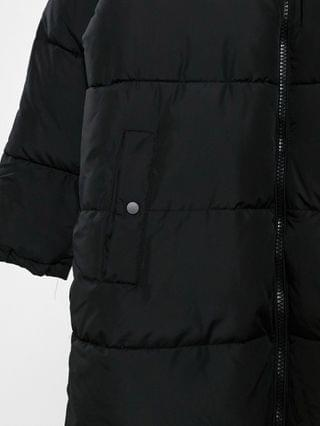 WOMEN New Look maxi quilted duvet puffer coat in black