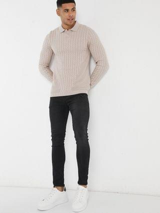 muscle fit lightweight cable polo neck sweater in pink