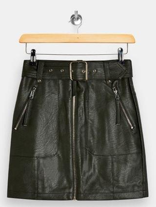WOMEN Topshop Petite faux leather motorcycle skirt in khaki