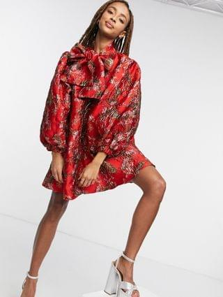 WOMEN Sister Jane mini smock dress with oversized bow and volume sleeves in red floral jaquard