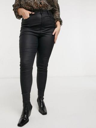 WOMEN New Look Curve lift and shape faux leather coated skinny jean in black