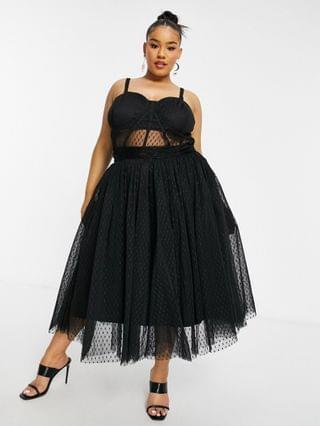 WOMEN Lace & Beads Plus exclusive prom midi dress with mesh corset waist detail in black dobby mesh