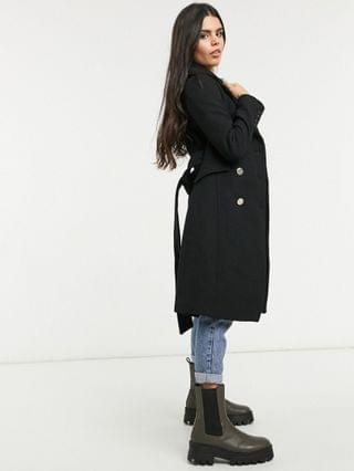 WOMEN Ever New Petite belted wool trench coat in black
