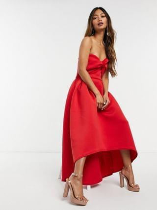 WOMEN True Violet oversized bow high/low midi dress in red