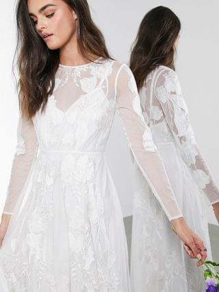 WOMEN EDITION Olivia floral embroidered maxi wedding dress
