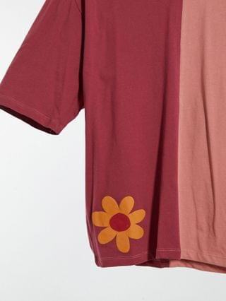oversized cut-and-sew T-shirt with NYC and flower print