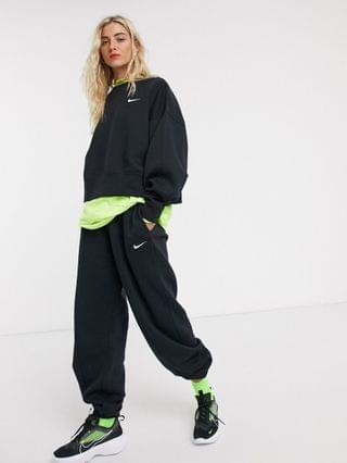 WOMEN Nike Trend Fleece loose fit cuffed sweatpants in black