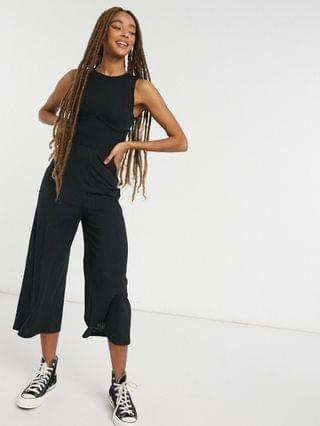 WOMEN New Look corset seam ribbed jumpsuit in black