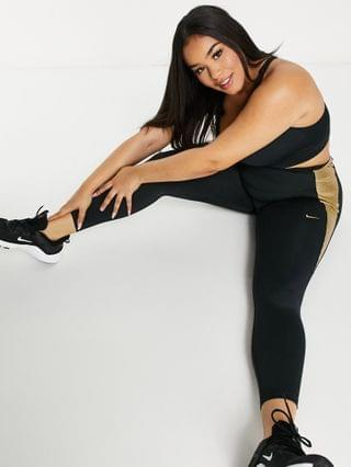 WOMEN Nike Training Plus one tight leggings in black and gold