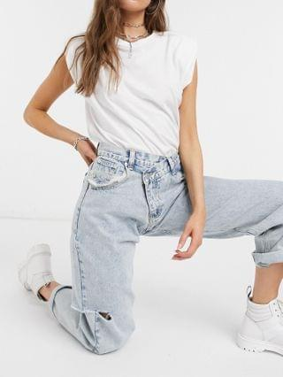 WOMEN The Kript vintage style mom jeans with distressing and cross over waist detail