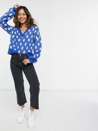 WOMEN v neck sweater with Christmas tree pattern in blue