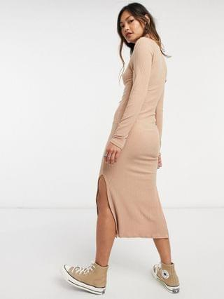 WOMEN New Look ribbed turtle neck body-conscious dress in oatmeal