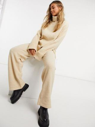 WOMEN roll neck jumper and wide leg trouser co-ord in camel