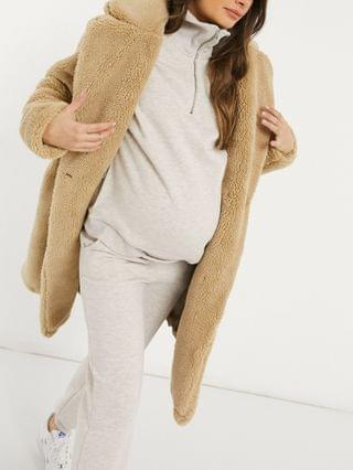 WOMEN New Look Maternity longline teddy coat in stone