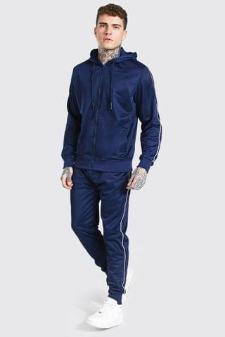 MEN Poly Zip Hooded Tracksuit With Piping