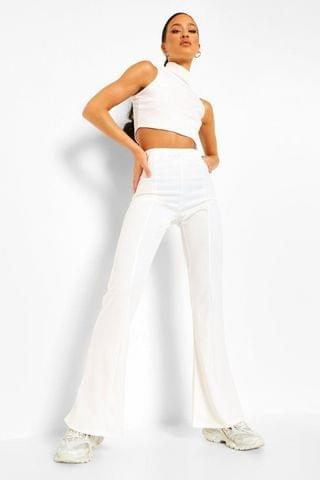 WOMEN Tight Stretch Crepe Piping Detail Flare