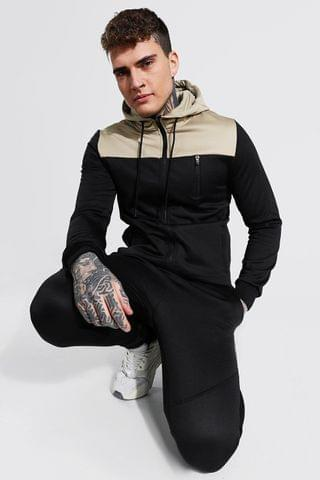MEN Colour Block Zip Through Hooded Tracksuit