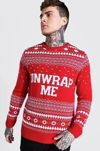 MEN Unwrap Me Knitted Christmas Jumper