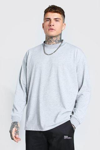 MEN Oversized Long Sleeve Extended Neck T-Shirt