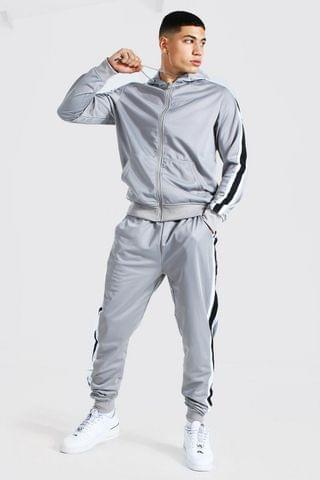 MEN Poly Zip Hooded Tracksuit With Tape