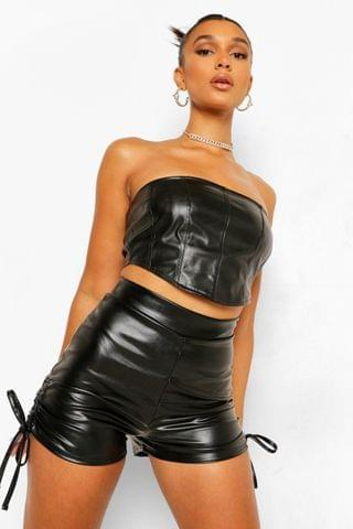 WOMEN Pu Faux Leather Ruched Side Shorts