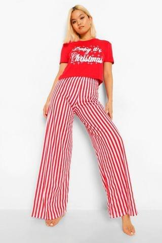 WOMEN Petite 'Baby Its Christmas' Wide Leg PJ Trouser Set