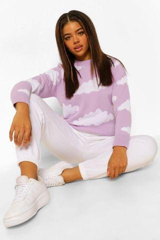WOMEN Knitted Cloud Design Jumper