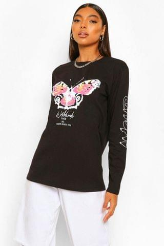 WOMEN Tall Amour Butterfly Graphic Long Sleeve T-Shirt