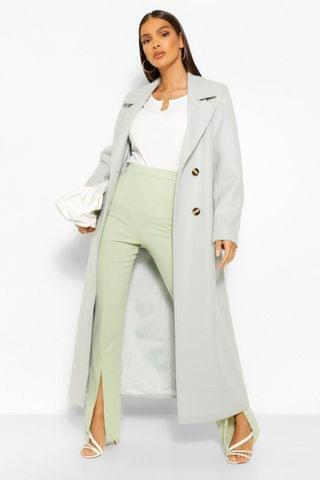 WOMEN Brushed Wool Look Double Breasted Coat