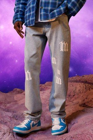 MEN Relaxed Fit All Over M Print Jean